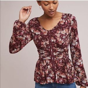 Anthropologie Corseted Knit top colorful print